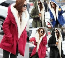 Stylish New Womens Fleece Warm Faux Fur Winter Coat Hooded Parka Overcoat Jacket