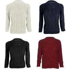 WOMEN LADIES CABLE KNIT JUMPER CREW NECK 3/4 SLEEVE ONE SIZE CROP SWEATER TOP