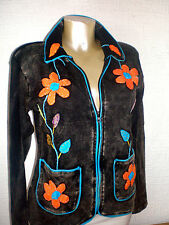 FairTrade 100% Cotton Floral Zip Up Casual Black Stone Washed Jacket Coat M L XL