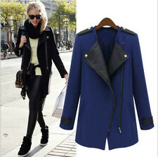 Cool Autumn Womens WOOL Synthetic Leather Long Coat Jacket Trench Parka Outwear