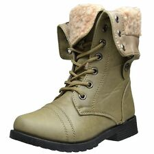 Girls Fold Over Cuff Mid Calf Boots Fur Lined Lace Up Ankle Combat Boots Taupe
