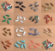 Wholesale Natural Gemstone Teardrop Charms Necklaces Pendants Earrings 20MM