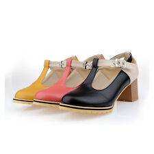 Women Chunky Heel T-Strap Plus Size Buckle Pump Retro Vintage Hollow Out  Shoe