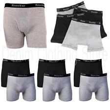 4Pcs Mens Knocker 100% Cotton Boxer Briefs Solid Black Gray Underwear Size S-3XL