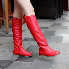 Womens Ladies Flat Low Heels Knee High Slouch Rain Boots Working Shoes F017