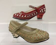 GIRLS CHILDREN KIDS GLITTER GOLD RED DIAMANTE PARTY WEDDING DRESS UP SHOES