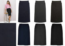 Biz Corporate Ladies Relaxed Fit Lined Skirt 20211 | Cool Stretch Pinstripe, New