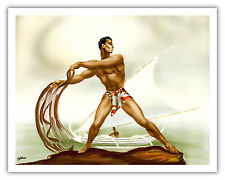 Net Fisherman Lawaia with Outrigger Hawaii Vintage Art Poster Print Giclee