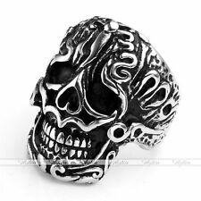 1pc Mens Stainless Steel Carved Totem Skull Biker Finger Ring Fashion Jewelry