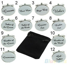 Personalized Men Wedding Cufflinks Custom Groom Best Man Father Bride Silver NEW