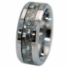 Mens Tungsten Ring Silver Grey Carbon Fiber 8MM Wedding Band No Scratch/Tarnish