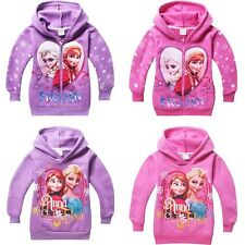 Girls Kids Frozen Elsa New Winter Warm Fleece Hooded Coat Jackets Snowsuit 4-8Y