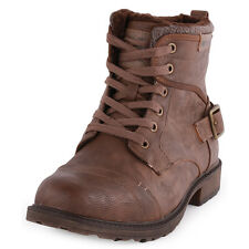 Mustang 4084-604 Mens Synthetic Leather Brown Ankle Boots New Shoes All Sizes