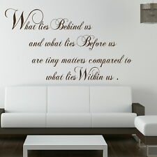 WHAT LIES BEHIND US. wall quote transfer graphic vinyl large sticker niq36