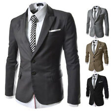 US FAST!!~Stylish Mens Casual Slim fit One Button Suit Blazer Trench Coat Jacket