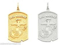 10k or 14k Yellow or White Gold US Marine Corps Military Pendant Charm