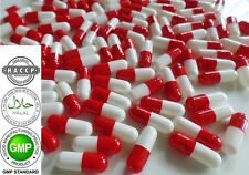 """""""WHITE-RED"""" Empty Vegetable GELATIN Pill Capsules Size 2(200mg) REFILLING POWDER"""