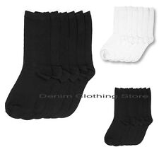 6 12 Pairs Lot Women Crew School Socks Plain Solid Black White Winter Size 9-11