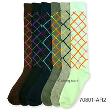 6~12 pairs Lot  Women Mamia Multi Color Fancy Argyle Design Knee High Socks 9-11