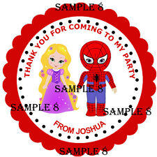 PRINCESS & SUPERHERO Thank You Stickers / Sticky Labels, 3 Sizes - Ref 01-08