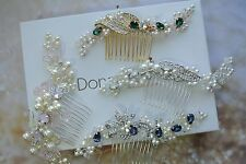Bridal Headpiece Pearl Crystal Hair Comb Wedding Fascinator Pink Ivory Blue