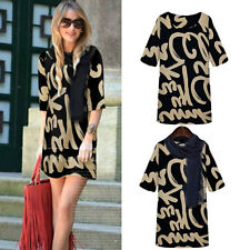 Womens Short Sleeve Letter Print Mini Dress Long Tops with Shawl S-XXL 5 Size