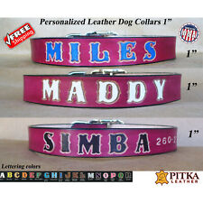 Custom Name Dog Collars - Red Leather Dog Collar - Large Leather Dog Collars