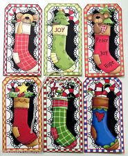 Hang Tags BEARS CANDY CANES SNOWMAN STOCKING MIXED CHRISTMAS TAGS #47  Gift Tags