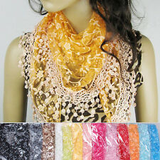 Vogue Hollow Tassel Lace Rose Floral Knit Triangle Mantilla Scarf Shawl Wrap Hot