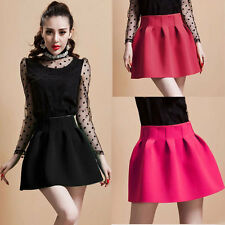 Sexy Hot Womens Pleated Puff Skirt Girls High Waist Candy Color Solid Mini Skirt