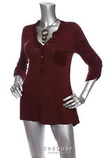 NEW ANTHROPOLOGIE Women Lace V-Neck Pocket Cotton Tunic Top Maroon XS S M L XL