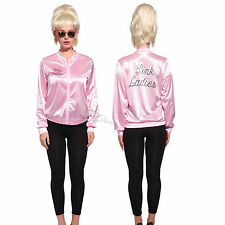 Retro 1950s Grease Pink Ladies Jacket Costume TShirt Party Fancy Dress Size 6-20