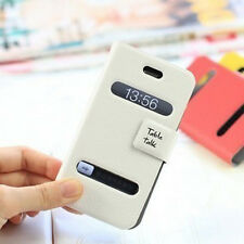 2013 New Opened Front PU Leather Case Cover Folio Wallet For iPhone 4/4S/5