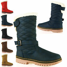 Ladies Quilt Matte Thick Sole Fur Lined Pull On Ankle Boot Womens Shoes Size D8Y