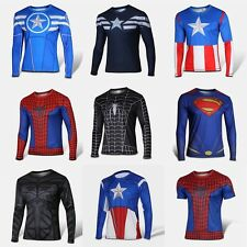 Exciting Heroes Costume T-shirt Superhero Long Sleeve short Jersey New T001T002