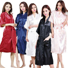 Ladies Womens Solid Plain Satin Long Robe Pajama Lingerie Sleepwear Kimono Gown