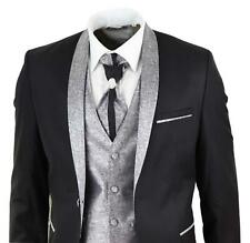 Mens Wedding Party Suit Tuxedo 5 Piece Black Round Shawl Lapel Slim Fit
