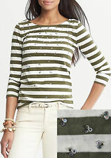NWT Banana Republic New $49.50 Women Embellished Striped Tee Size PXS