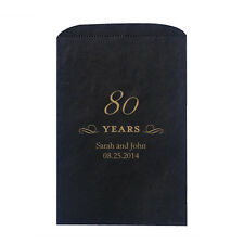50 80 Years 80th Anniversary Birthday Flat Pocket Favor Bags in Color Choices