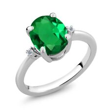 2.18 Ct Oval Green Simulated Emerald White Diamond 925 Sterling Silver Ring