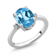 2.86 Ct Oval Swiss Blue Topaz White Diamond 925 Sterling Silver Ring