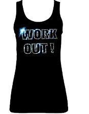 WORK OUT LADIES VEST CRYSTAL DESIGN all sizes GYM TRAINING FITNESS TOP