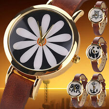 Women's Striking Panda Owl Anchor Rose Gold Plated Faux Leather Wrist Watch