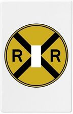 Yellow Railroad Sign RR Wall Plate Decorative Light Switch Plate Cover