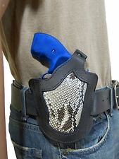 "New Barsony Black Leather Snake Skin Pancake Holster for Ruger Rossi 2"" Revolver"