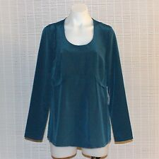 New $48 Womens VERA WANG Teal Satin Scooped Neck Long-Sleeve Blouse Top