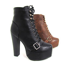 New Womens Faux Leather Lace Up High Ankle Buckle Platform Bootie Chunky Heels