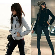 New Winter Ladies High Collar Long Sleeve Jacket Short Coat Top Outwear US S M L
