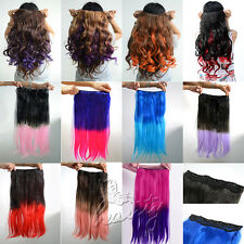 One Piece Pastel Ombre Gradient Color Weft Clip-in Synthetic Hair Extensions