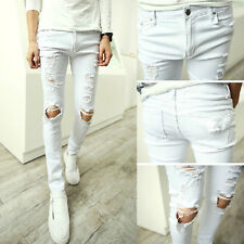 Men's Stylish Retro Skinny Casual Street Cotton Ripped Jeans Pants Cool Trousers